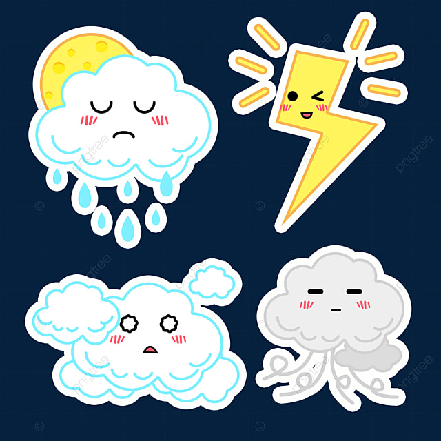 cartoon white cute weather sticker