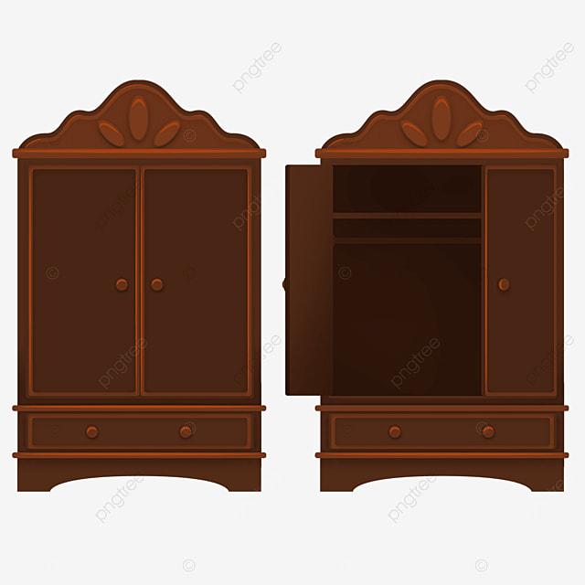 dark brown retro cupboard clipart