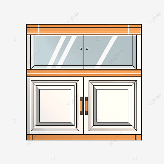 double glass cabinet clip art