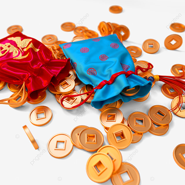 gold coins and exquisite new year lucky bag