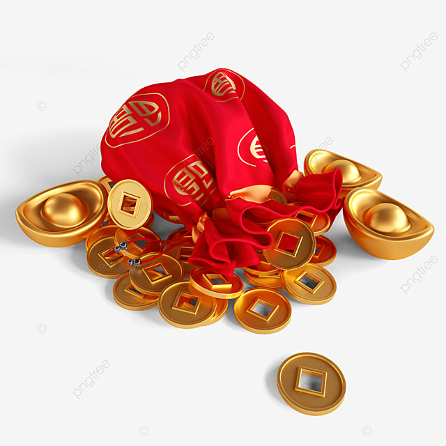gold coins and ingots lucky bag