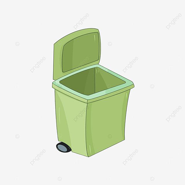 green cartoon trash bin clipart