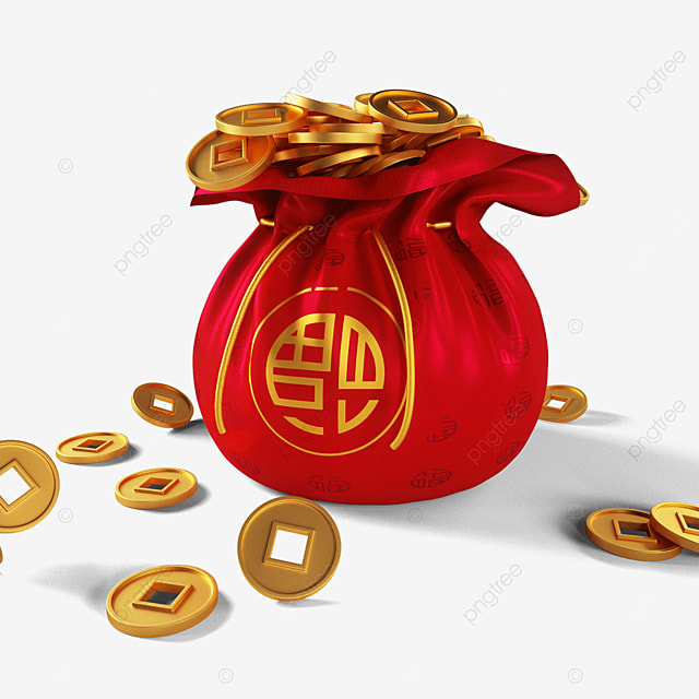 lucky bag full of gold coins