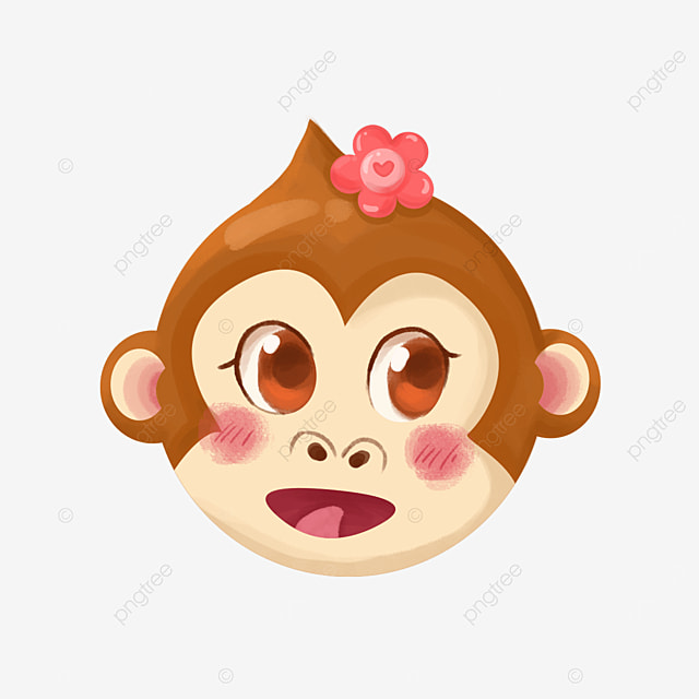 monkey face with flowers clipart