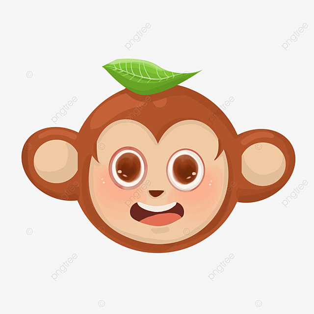 monkey face with leaves clipart