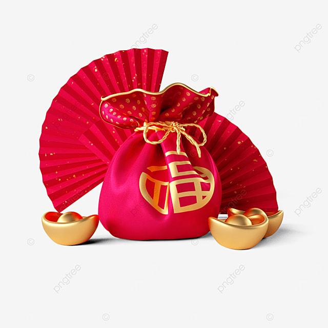 new year lucky bag ingot fan