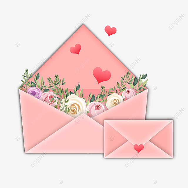 pink heart shaped mothers day envelope flowers