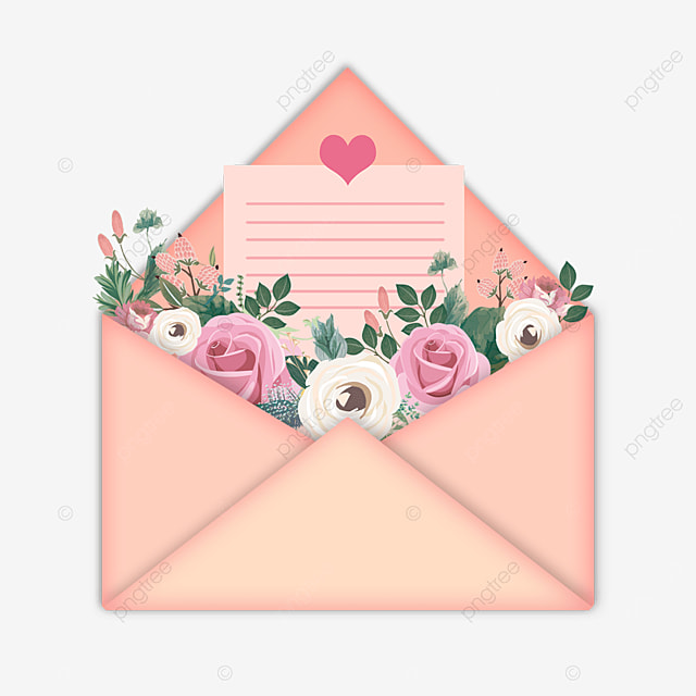 pink mothers day flowers letter paper envelope