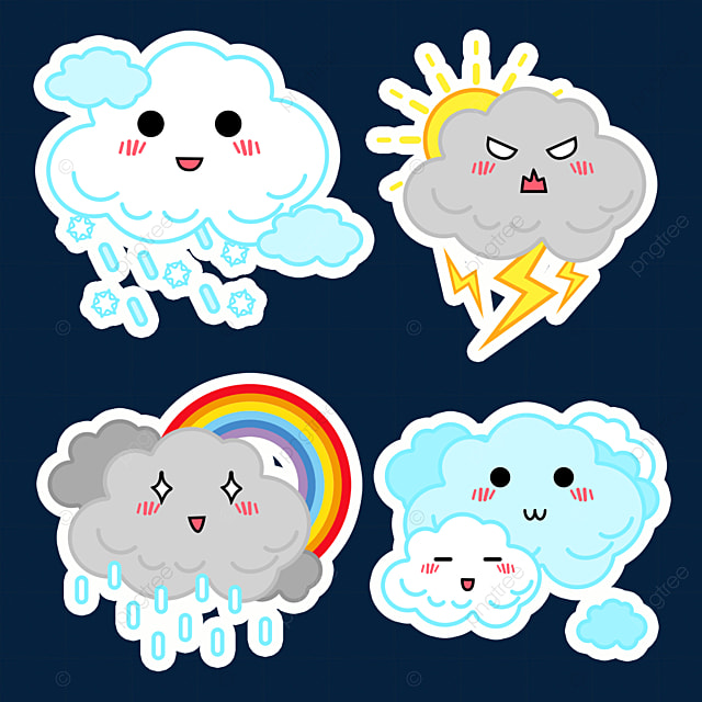 rain and snow cute weather stickers
