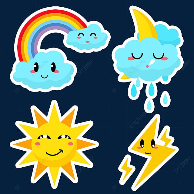 rainbow cute weather stickers