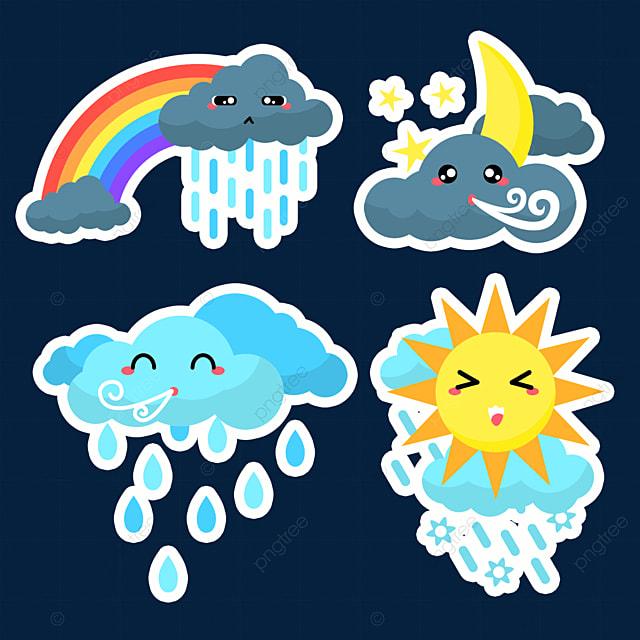 rainy blue cute weather sticker