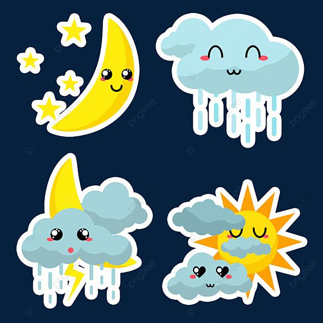 rainy cartoon cute weather stickers