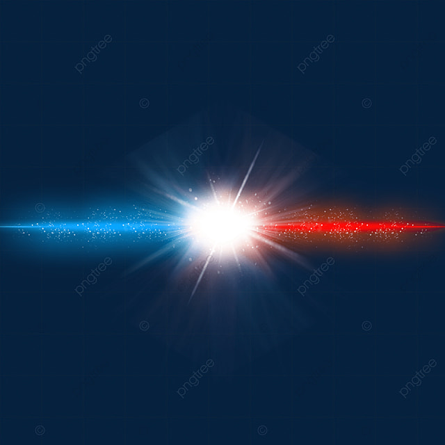 red and blue beams collide with light effect