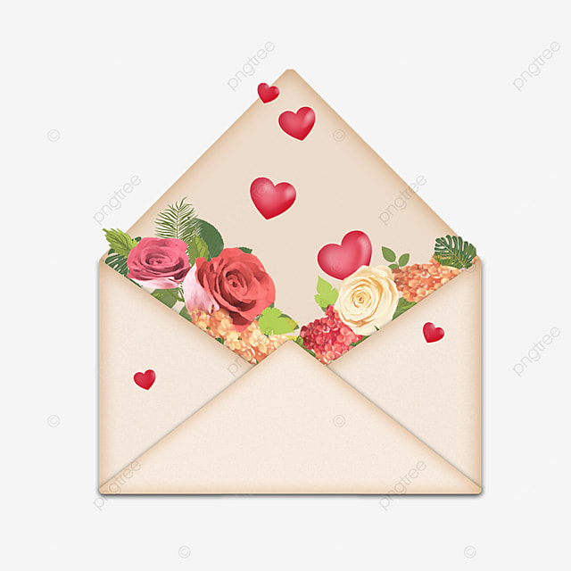 red flowers mothers day envelope red heart