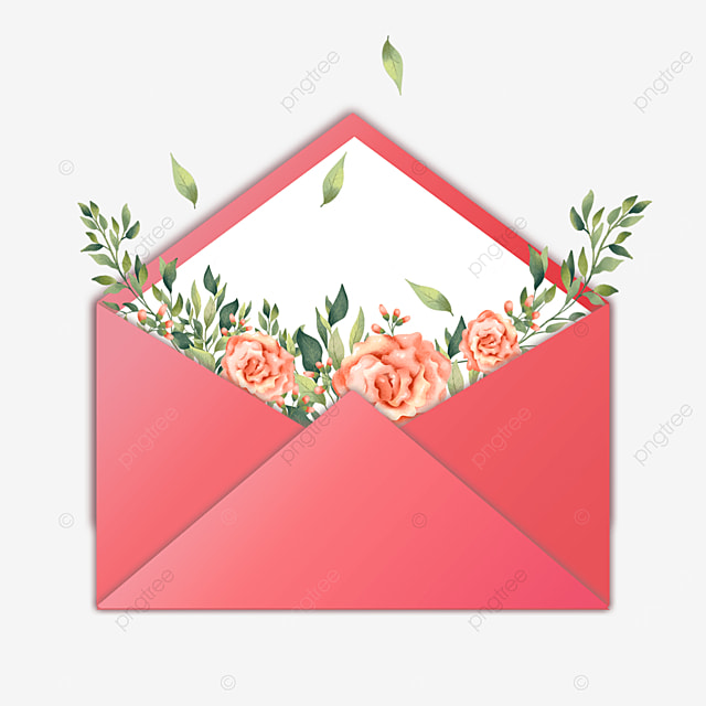 red mothers day envelope flowers branches and leaves