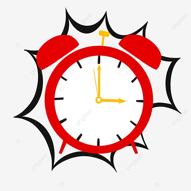 red yellow siren alarm clock clipart
