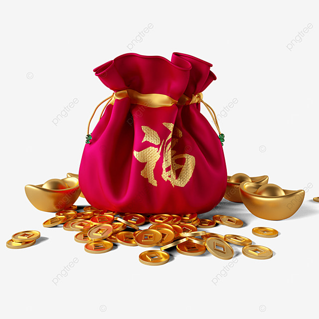 scattered gold coins and lucky bags
