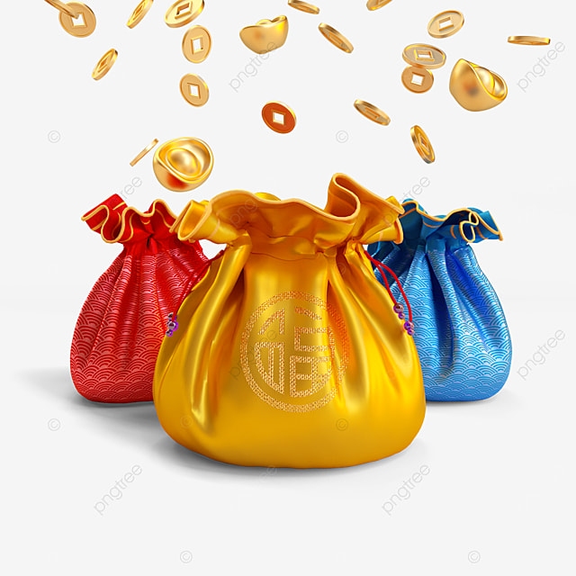 three color three dimensional new year lucky bag