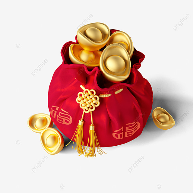 three dimensional lucky bag full of gold ingots