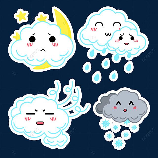 white cute weather sticker
