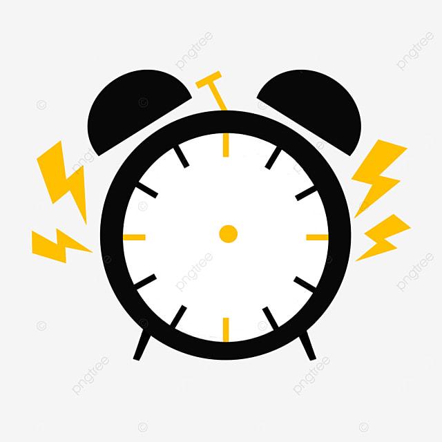 yellow black alarm clock siren clipart