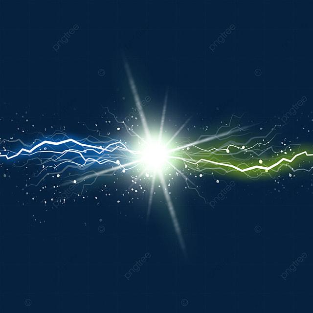 yellow blue beam colliding light effect