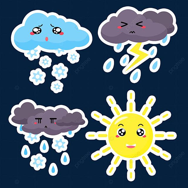 yellow cartoon cute weather sticker