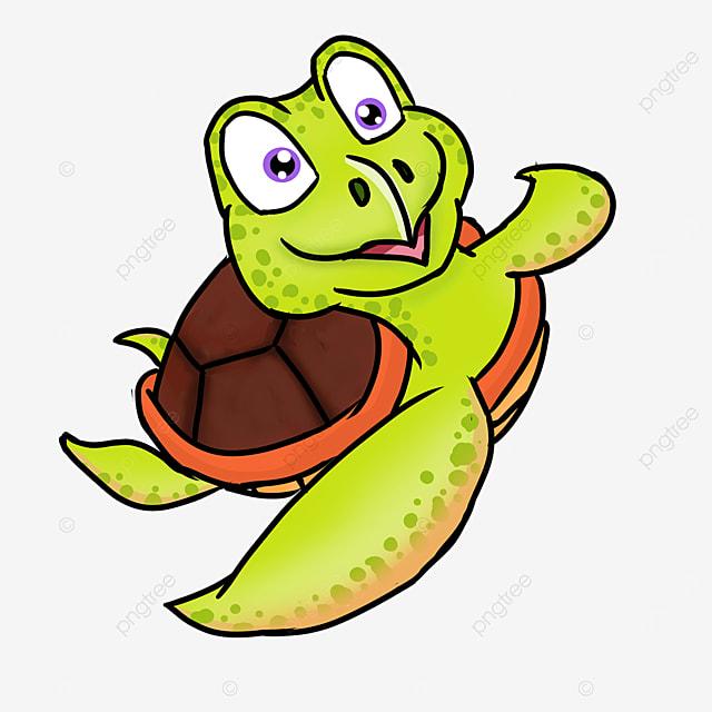 cartoon style brown turtle shell green skin cute sea turtle clipart