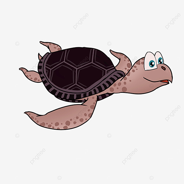 cartoon style cute tan turtle shell brown skin turtle clipart