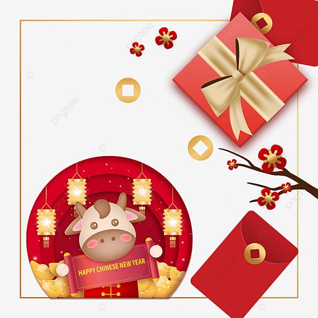 chinese new year gift box border