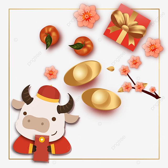 chinese new year gift box ingot border