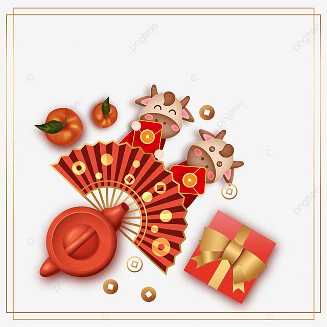 chinese new year ox gift box border