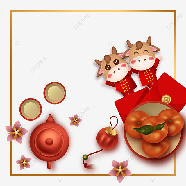 chinese new year ox year red envelope border