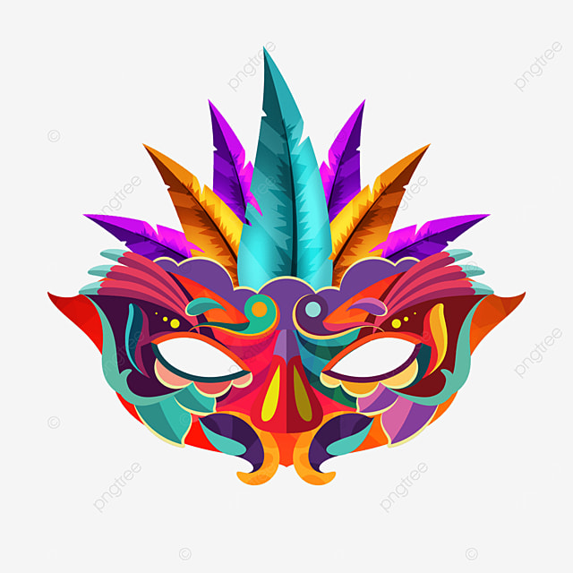 colorful feather texture carnival mask