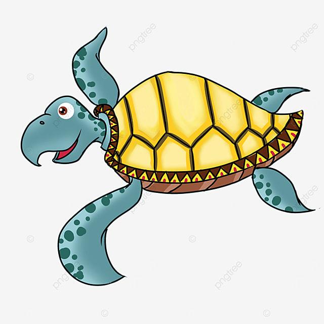 cute cartoon yellow turtle shell blue skin sea turtle clipart