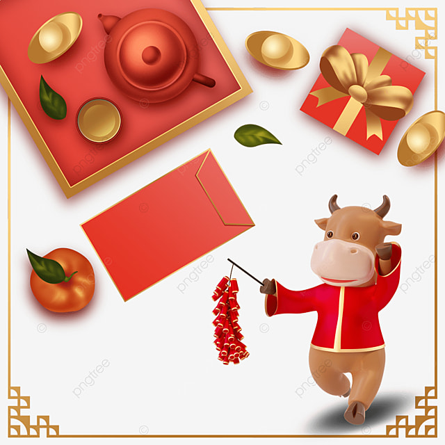 happy chinese new year ox year border