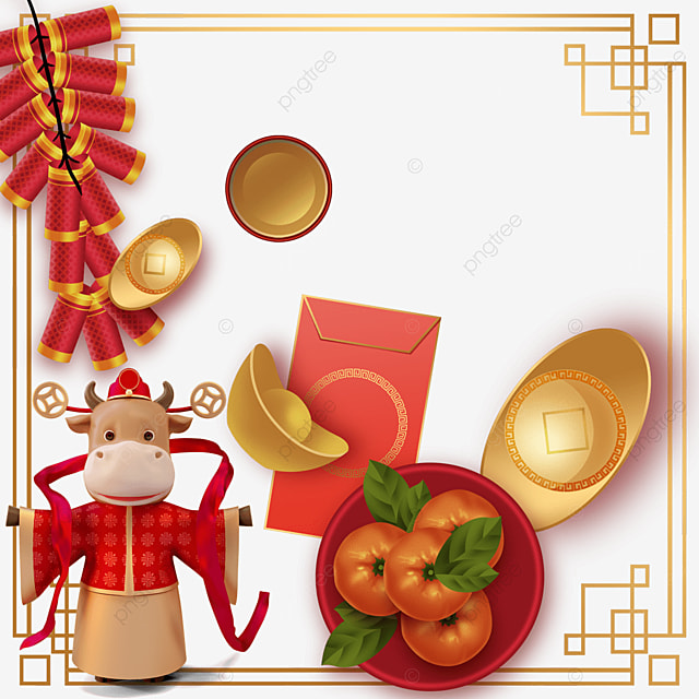 happy chinese new year ox year firecrackers border