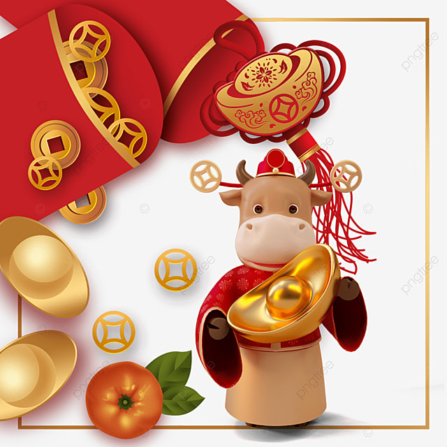 happy new year ox year red envelope border