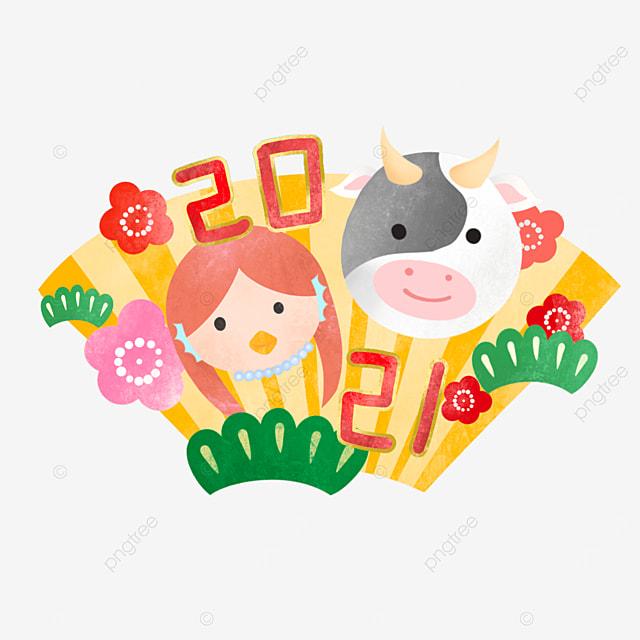 japanese style cartoon new year cow