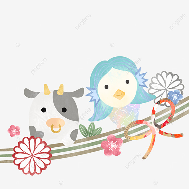 japanese style cute new year cow