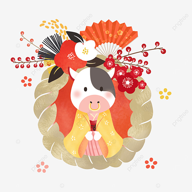 japanese style fan new years cow