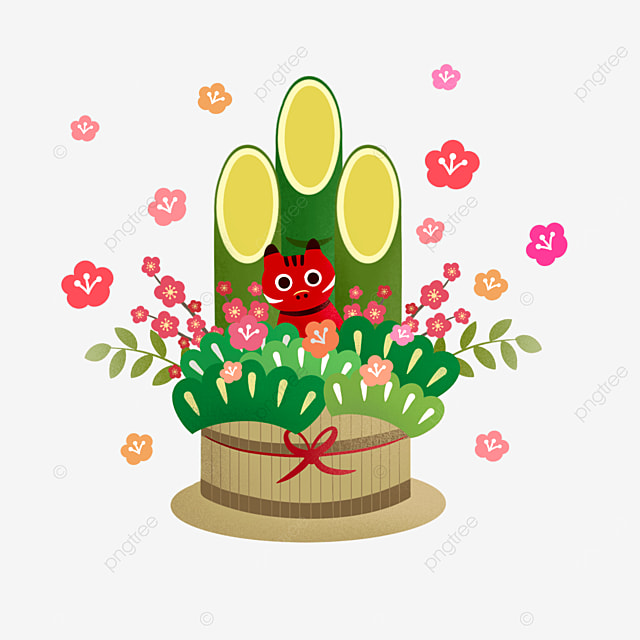 japanese style green plant new year cow