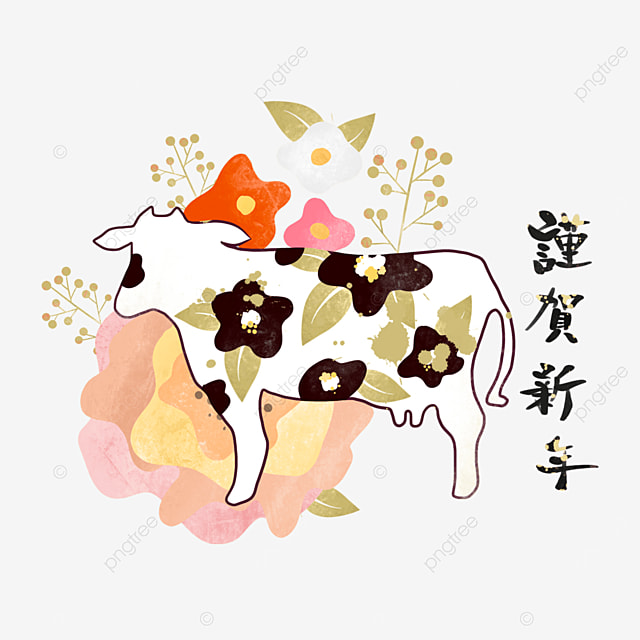 japanese style line new year cow
