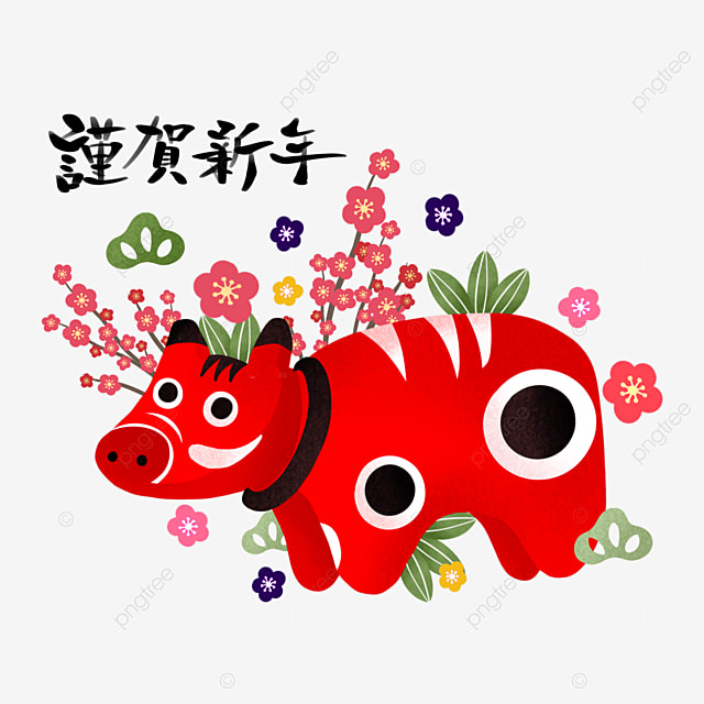 japanese style red creative new year cow