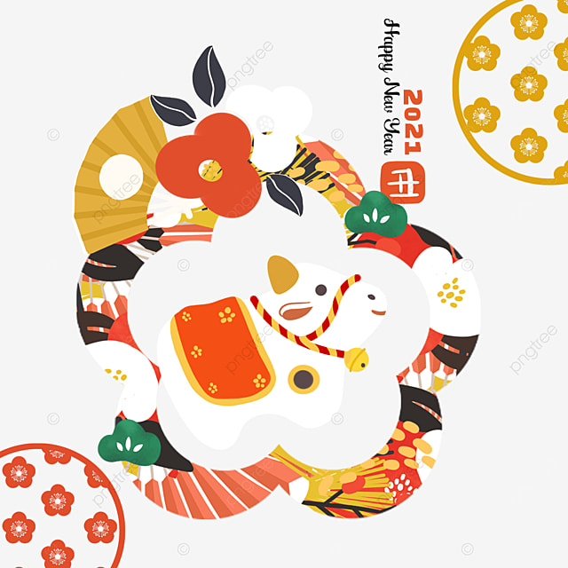 japanese style red new year cow