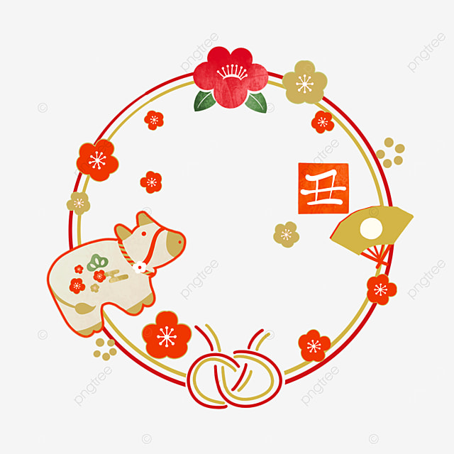 japanese style red wireframe new year cow