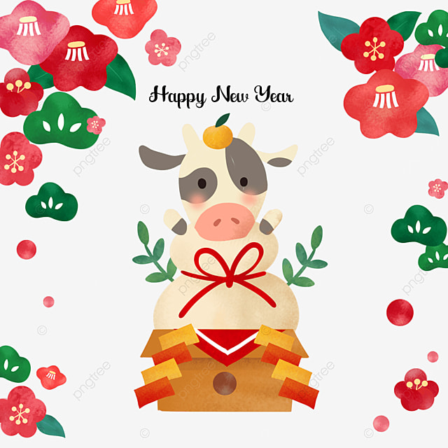 japanese style reiwa new year cow