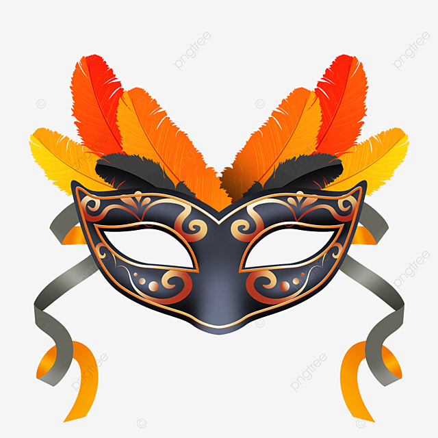orange feather texture carnival mask