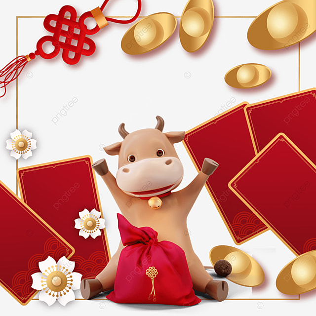 ox year new year red envelope border
