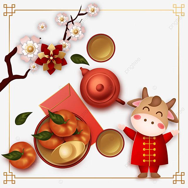 plum blossom ox year happy new year border